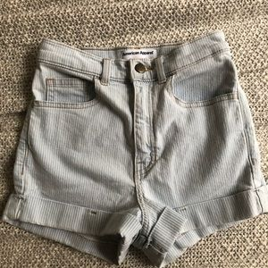 High Waisted Pinstripe Denim Shorts